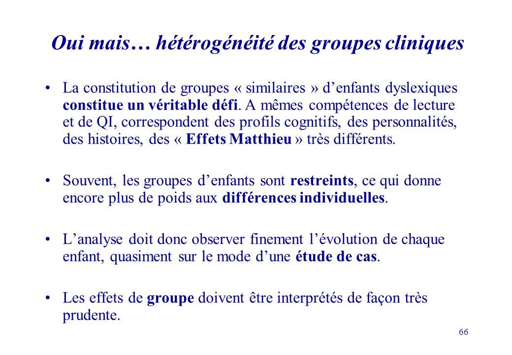 66 Oui mais… hétérogénéité des groupes cliniques La constitution de groupes « similaires » denfants dyslexiques constitue un véritable défi.