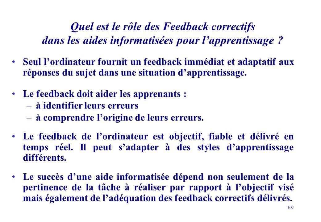 69 Quel est le rôle des Feedback correctifs dans les aides informatisées pour lapprentissage .