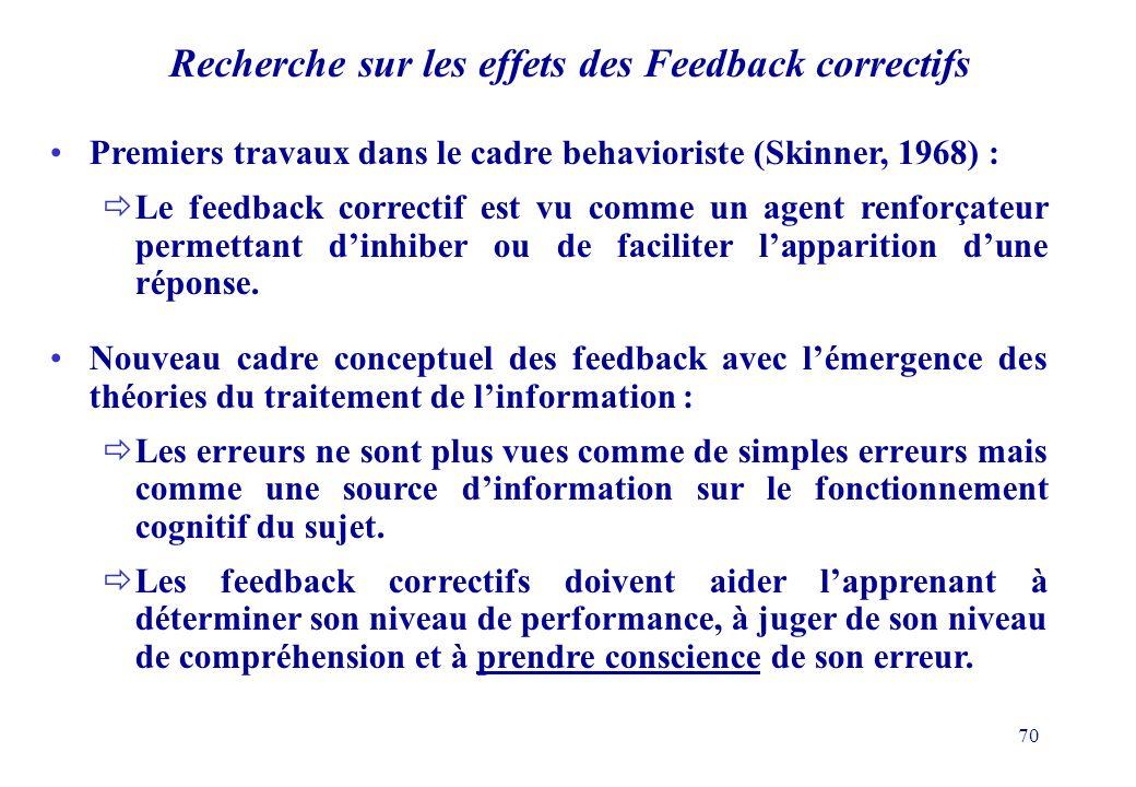 70 Recherche sur les effets des Feedback correctifs Premiers travaux dans le cadre behavioriste (Skinner, 1968) : Le feedback correctif est vu comme un agent renforçateur permettant dinhiber ou de faciliter lapparition dune réponse.