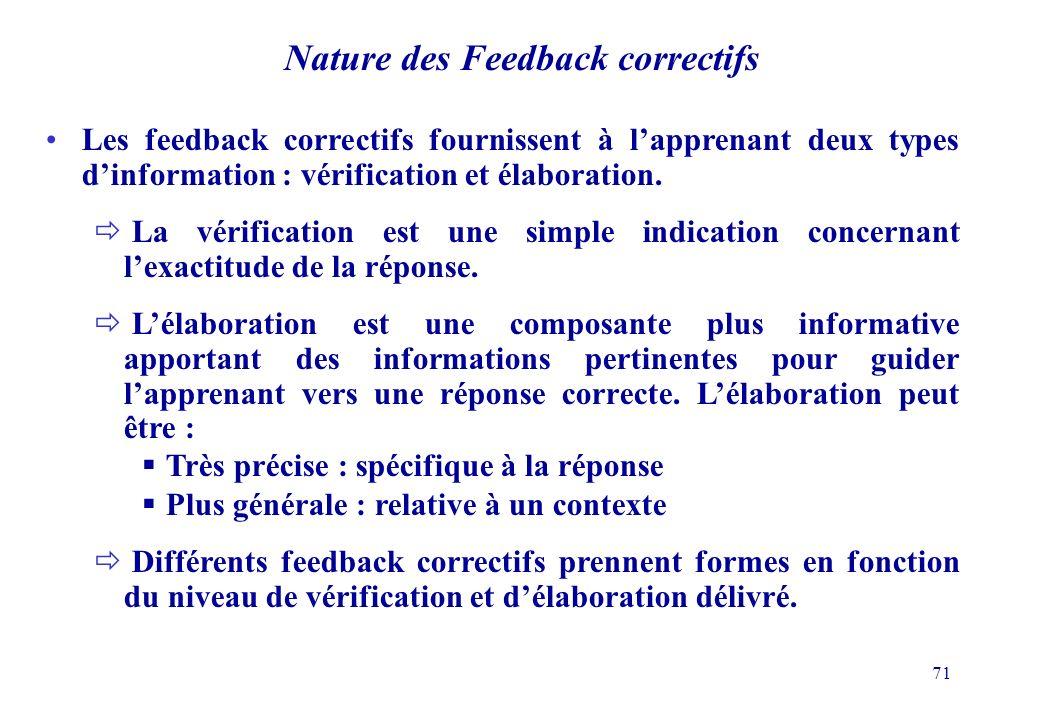 71 Nature des Feedback correctifs Les feedback correctifs fournissent à lapprenant deux types dinformation : vérification et élaboration.