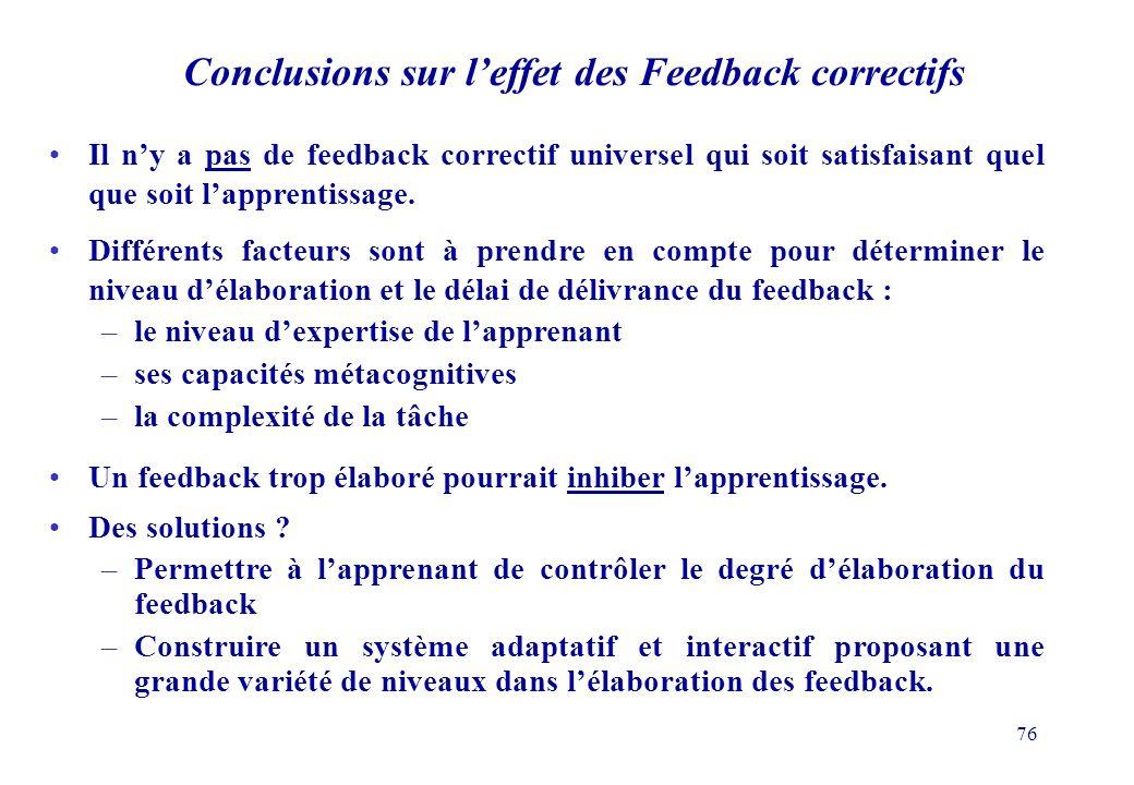 76 Il ny a pas de feedback correctif universel qui soit satisfaisant quel que soit lapprentissage.
