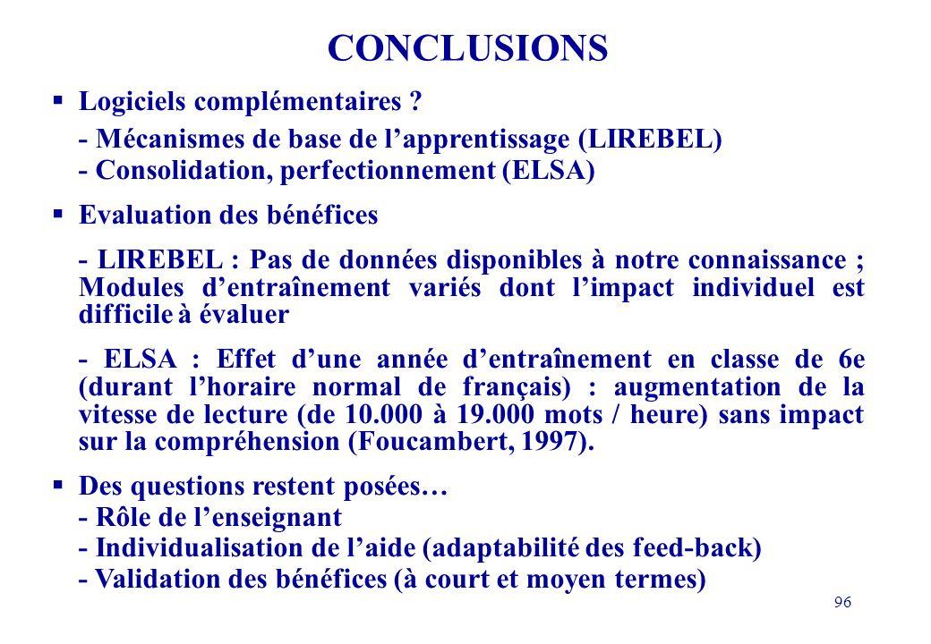 96 CONCLUSIONS Logiciels complémentaires .
