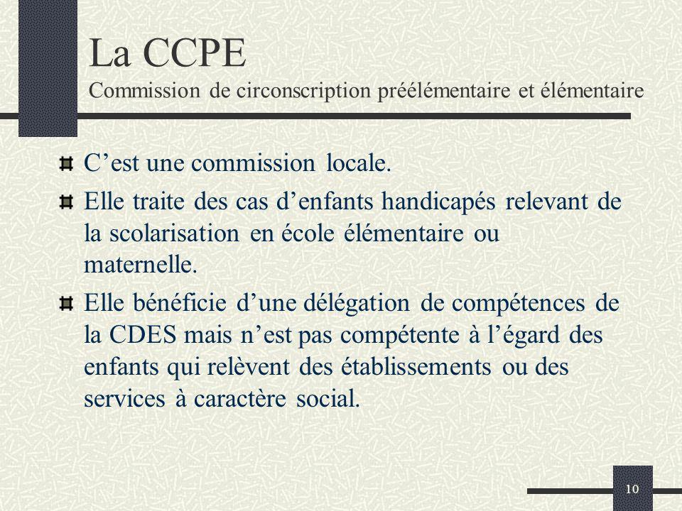 10 La CCPE Commission de circonscription préélémentaire et élémentaire Cest une commission locale. Elle traite des cas denfants handicapés relevant de