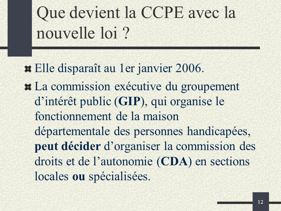 12 Que devient la CCPE avec la nouvelle loi ? Elle disparaît au 1er janvier 2006. La commission exécutive du groupement dintérêt public (GIP), qui org