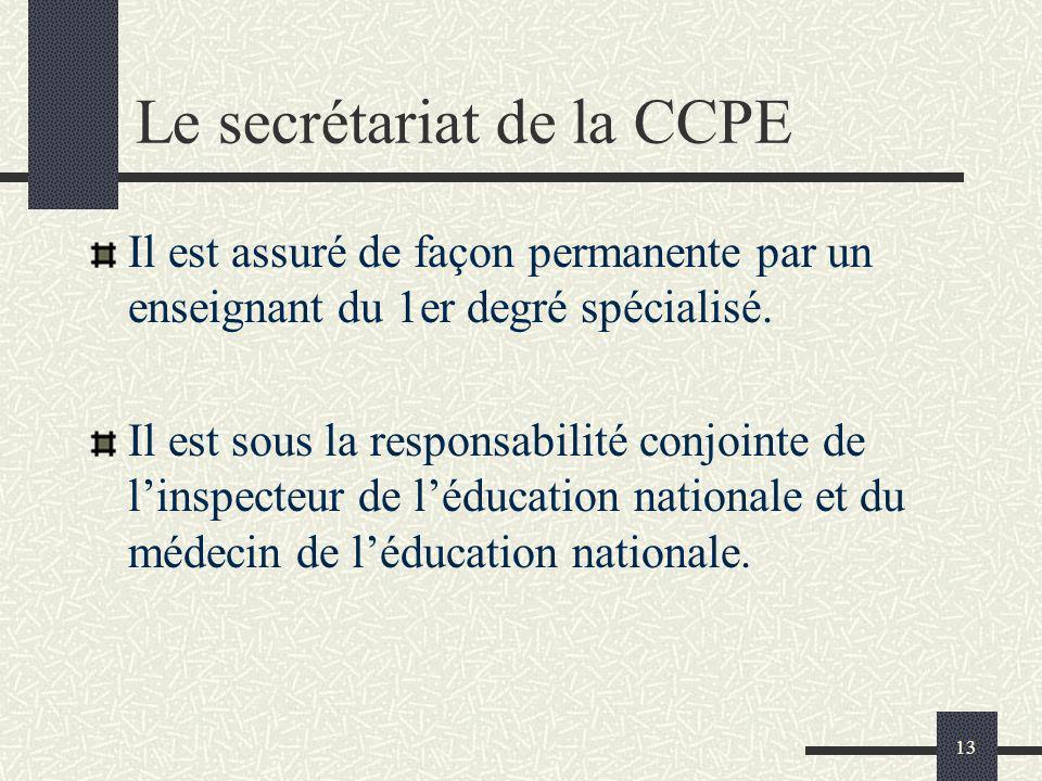13 Le secrétariat de la CCPE Il est assuré de façon permanente par un enseignant du 1er degré spécialisé. Il est sous la responsabilité conjointe de l