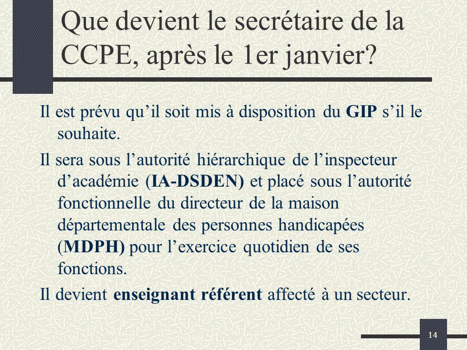 14 Que devient le secrétaire de la CCPE, après le 1er janvier? Il est prévu quil soit mis à disposition du GIP sil le souhaite. Il sera sous lautorité