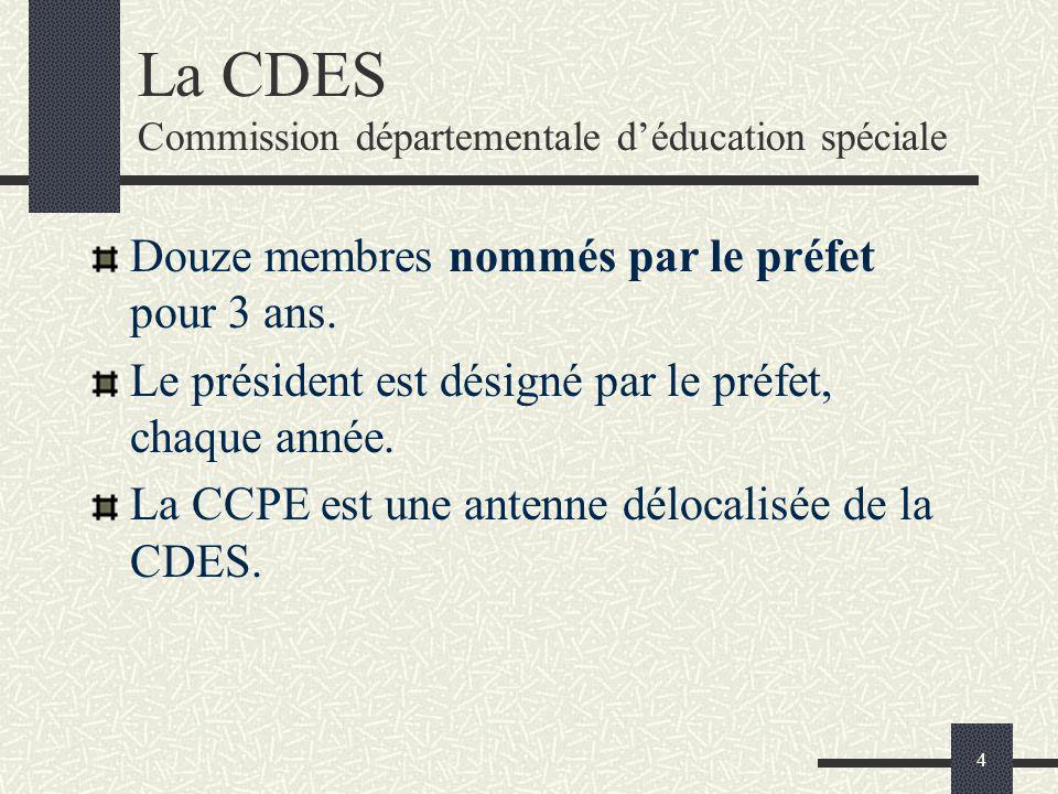 4 La CDES Commission départementale déducation spéciale Douze membres nommés par le préfet pour 3 ans. Le président est désigné par le préfet, chaque