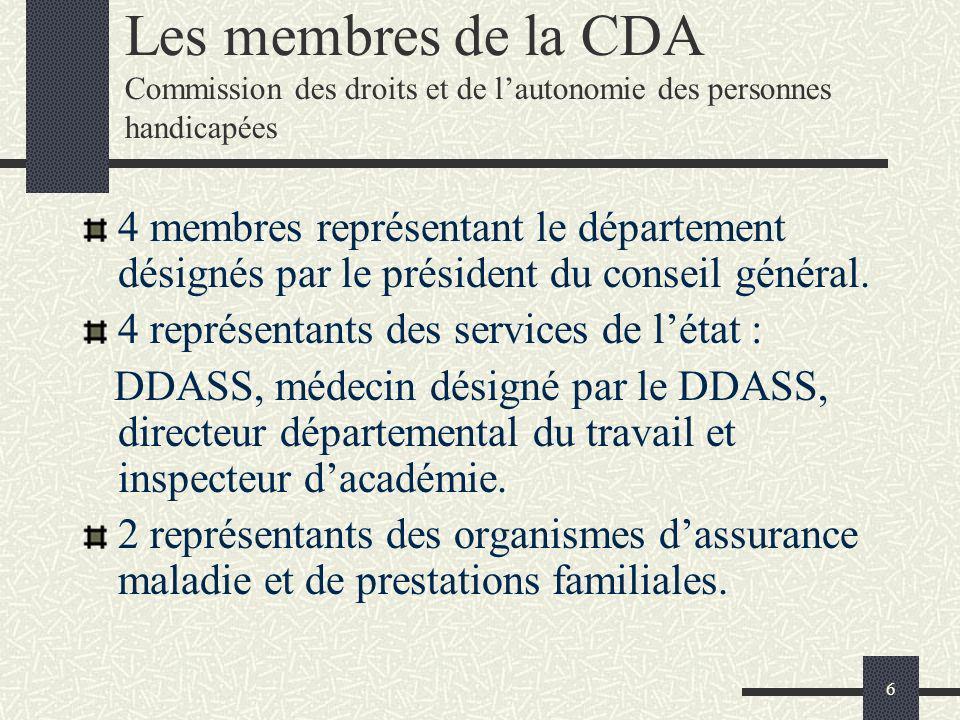 6 Les membres de la CDA Commission des droits et de lautonomie des personnes handicapées 4 membres représentant le département désignés par le préside
