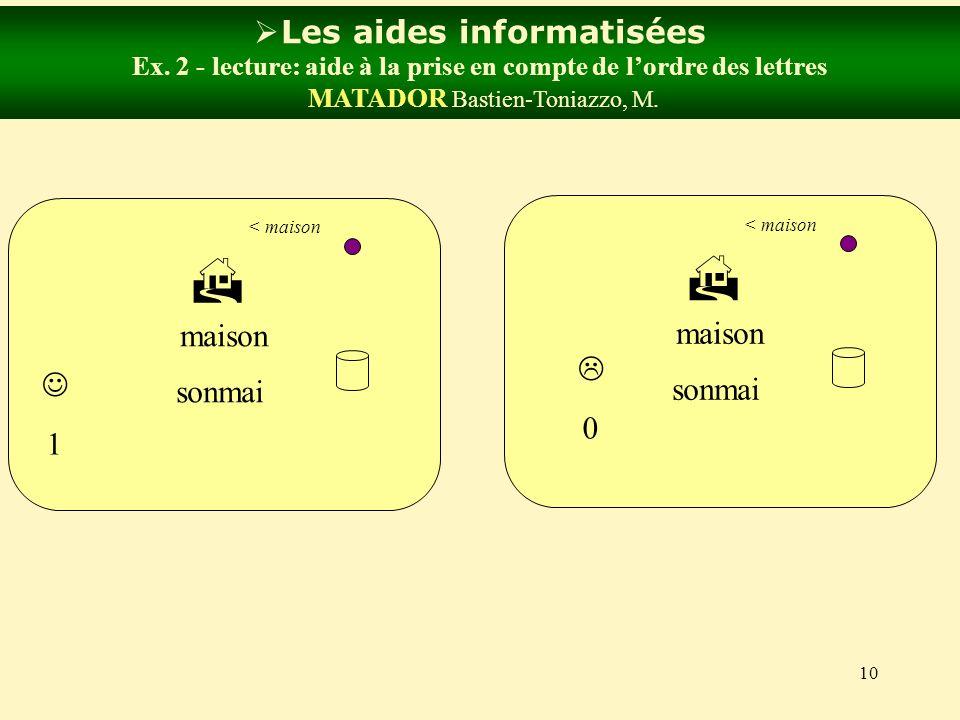 10 Les aides informatisées Ex. 2 - lecture: aide à la prise en compte de lordre des lettres MATADOR Bastien-Toniazzo, M. bouton maison < maison sonmai