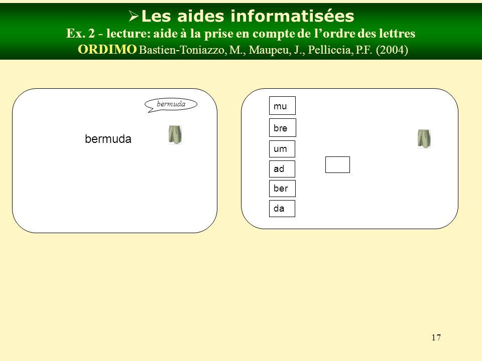 17 Les aides informatisées Ex. 2 - lecture: aide à la prise en compte de lordre des lettres ORDIMO Bastien-Toniazzo, M., Maupeu, J., Pelliccia, P.F. (
