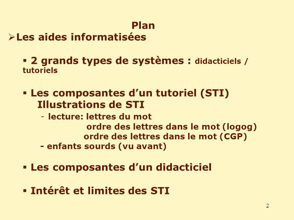 2 Plan Les aides informatisées 2 grands types de systèmes : didacticiels / tutoriels Les composantes dun tutoriel (STI) Illustrations de STI - lecture