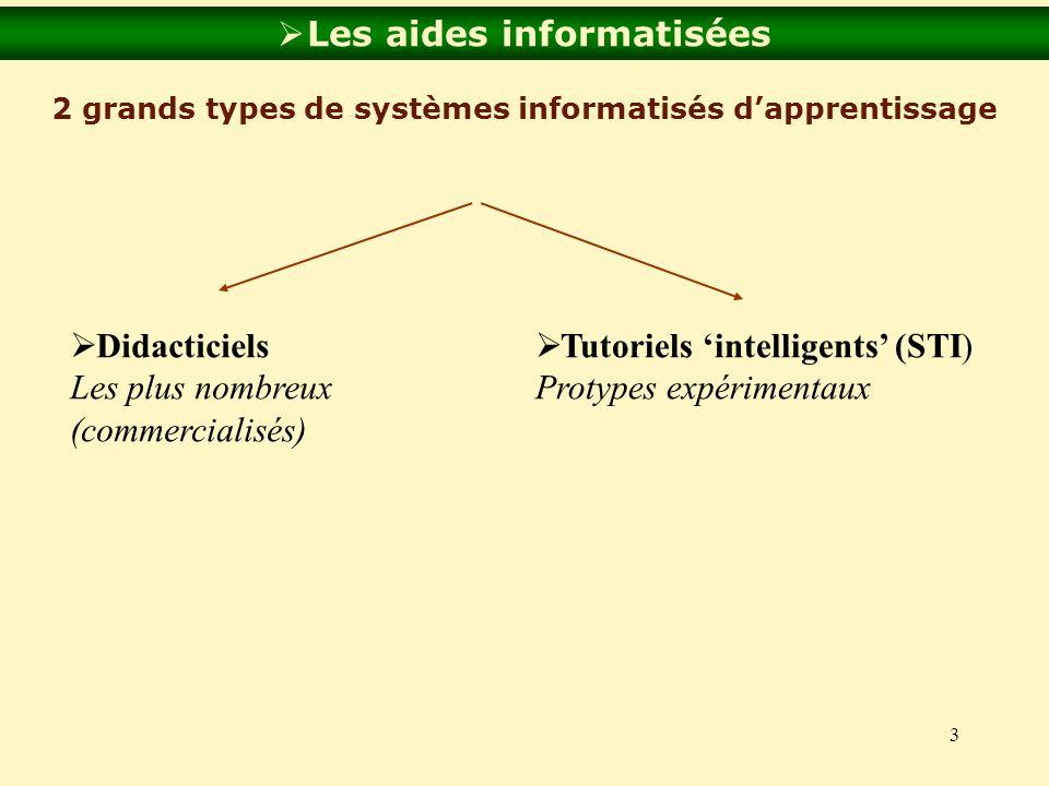 3 Les aides informatisées 2 grands types de systèmes informatisés dapprentissage Didacticiels Les plus nombreux (commercialisés) Tutoriels intelligent