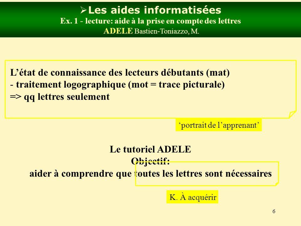 6 Les aides informatisées Ex. 1 - lecture: aide à la prise en compte des lettres ADELE Bastien-Toniazzo, M. Létat de connaissance des lecteurs débutan