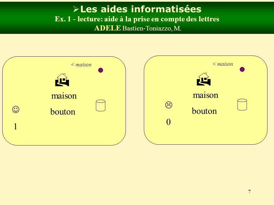 7 Les aides informatisées Ex. 1 - lecture: aide à la prise en compte des lettres ADELE Bastien-Toniazzo, M. bouton maison < maison bouton maison < mai