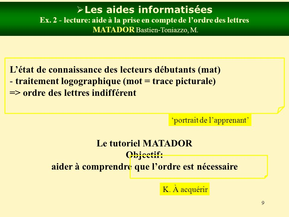 9 Les aides informatisées Ex. 2 - lecture: aide à la prise en compte de lordre des lettres MATADOR Bastien-Toniazzo, M. Létat de connaissance des lect