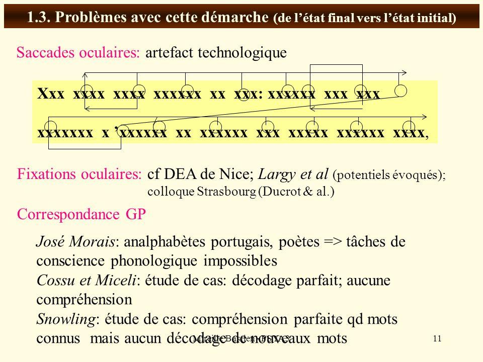 Mireille Bastien - PSYA311 1.3. Problèmes avec cette démarche (de létat final vers létat initial) Saccades oculaires: artefact technologique Xxx xxxx