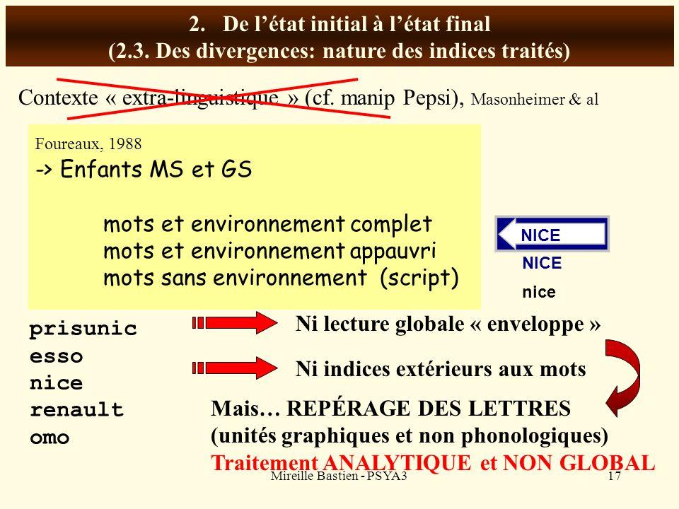 Mireille Bastien - PSYA317 2.De létat initial à létat final (2.3. Des divergences: nature des indices traités) Contexte « extra-linguistique » (cf. ma