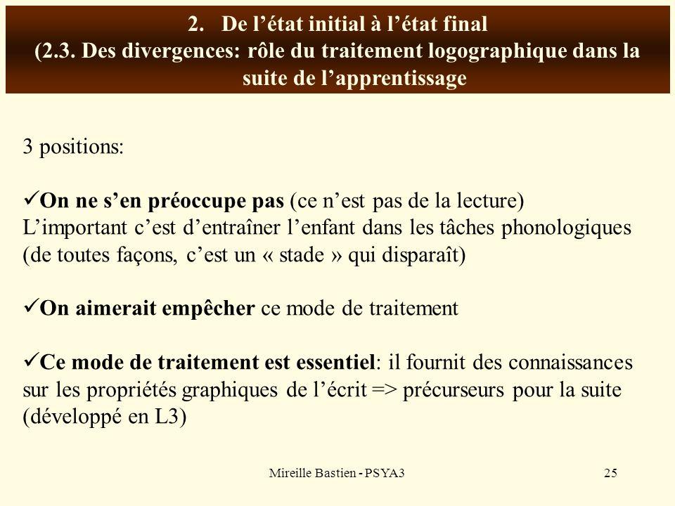 Mireille Bastien - PSYA325 2.De létat initial à létat final (2.3. Des divergences: rôle du traitement logographique dans la suite de lapprentissage 3