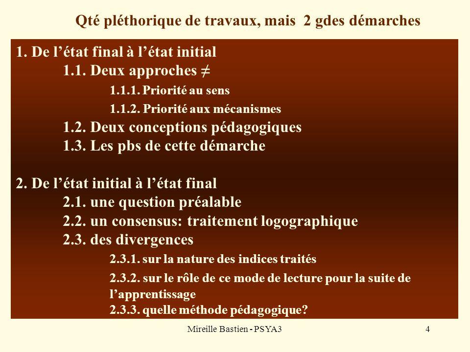 Mireille Bastien - PSYA34 1. De létat final à létat initial 1.1. Deux approches 1.1.1. Priorité au sens 1.1.2. Priorité aux mécanismes 1.2. Deux conce