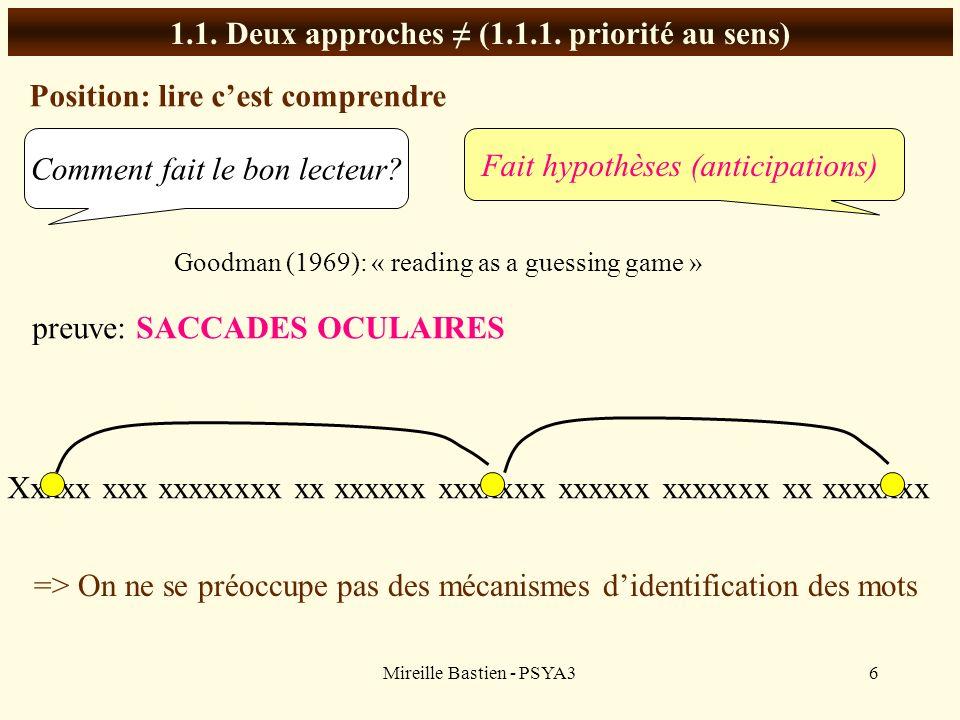 Mireille Bastien - PSYA36 1.1. Deux approches (1.1.1. priorité au sens) Position: lire cest comprendre Comment fait le bon lecteur? Fait hypothèses (a