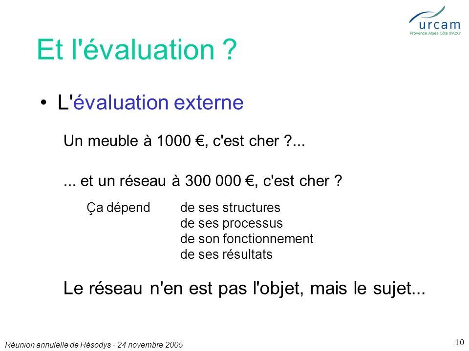 Réunion annulelle de Résodys - 24 novembre 2005 10 Et l évaluation .