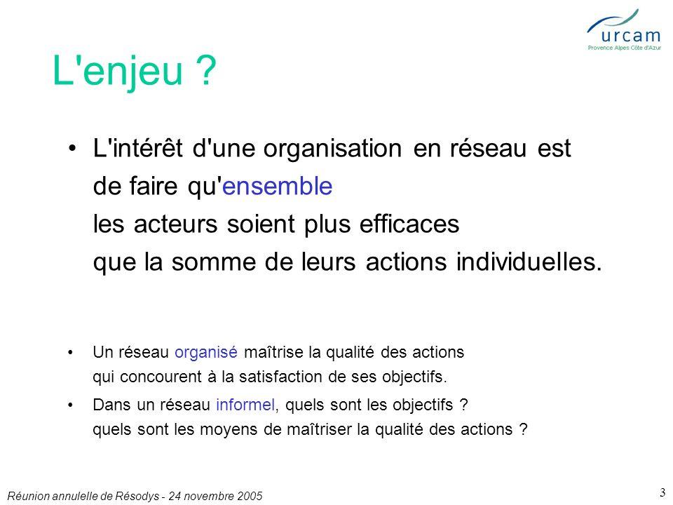 Réunion annulelle de Résodys - 24 novembre 2005 3 L enjeu .