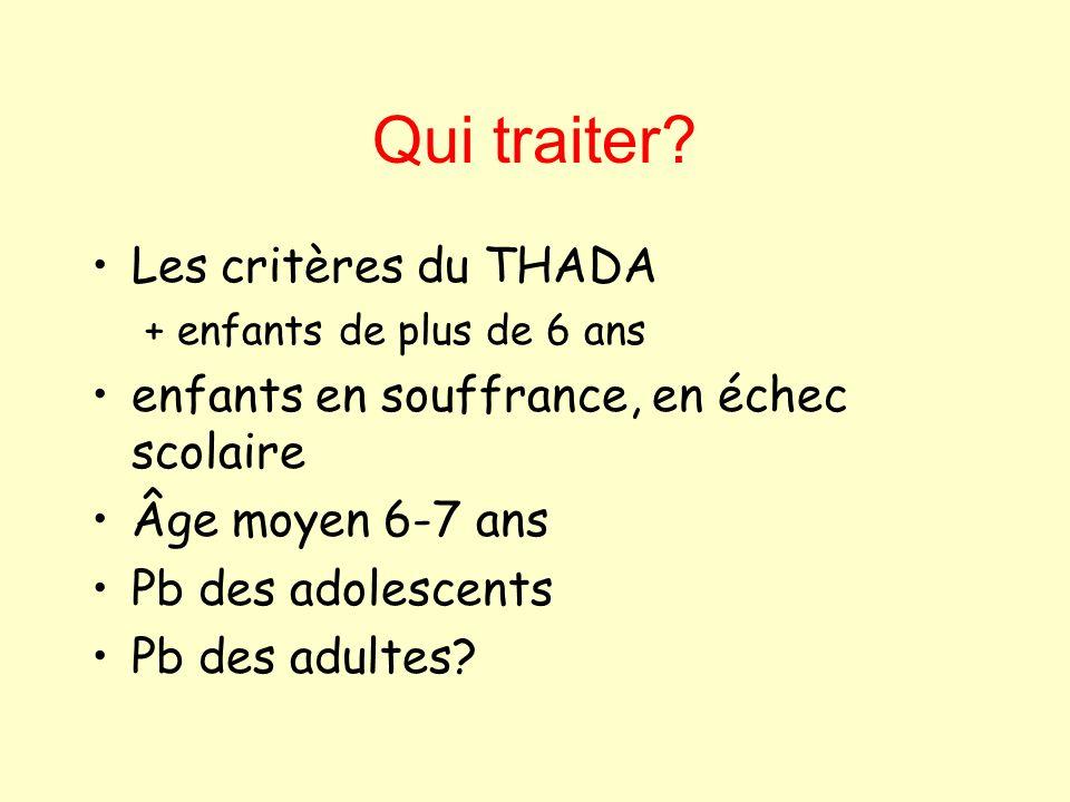 Qui traiter? Les critères du THADA + enfants de plus de 6 ans enfants en souffrance, en échec scolaire Âge moyen 6-7 ans Pb des adolescents Pb des adu