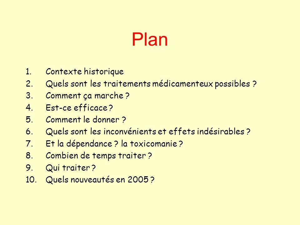 Plan 1.Contexte historique 2.Quels sont les traitements médicamenteux possibles ? 3.Comment ça marche ? 4.Est-ce efficace ? 5.Comment le donner ? 6.Qu
