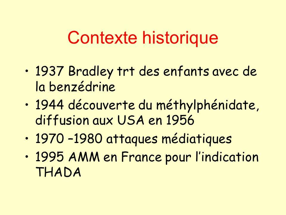 Contexte historique 1937 Bradley trt des enfants avec de la benzédrine 1944 découverte du méthylphénidate, diffusion aux USA en 1956 1970 –1980 attaqu