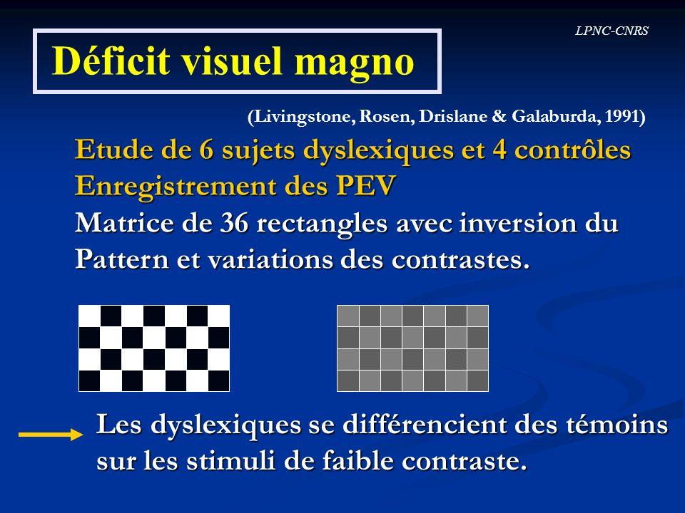 LPNC-CNRS Déficit visuel magno (Livingstone, Rosen, Drislane & Galaburda, 1991) Etude de 6 sujets dyslexiques et 4 contrôles Enregistrement des PEV Ma