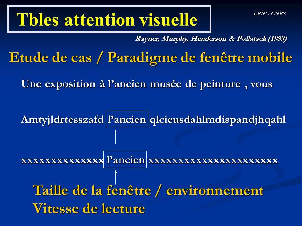LPNC-CNRS Tbles attention visuelle Rayner, Murphy, Henderson & Pollatsek (1989) Etude de cas / Paradigme de fenêtre mobile Une exposition à lancien mu