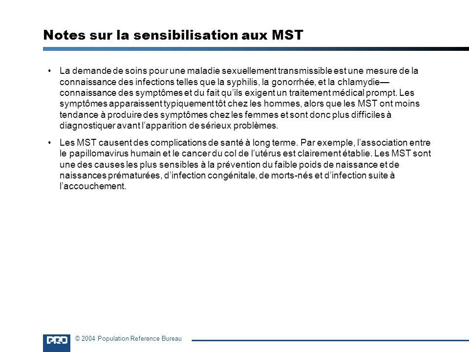© 2004 Population Reference Bureau Notes sur la sensibilisation aux MST La demande de soins pour une maladie sexuellement transmissible est une mesure