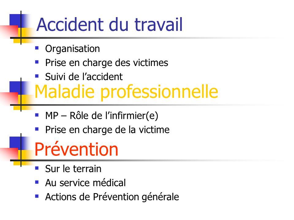 Accident du travail Maladie professionnelle Prévention Organisation Prise en charge des victimes Suivi de laccident MP – Rôle de linfirmier(e) Prise e