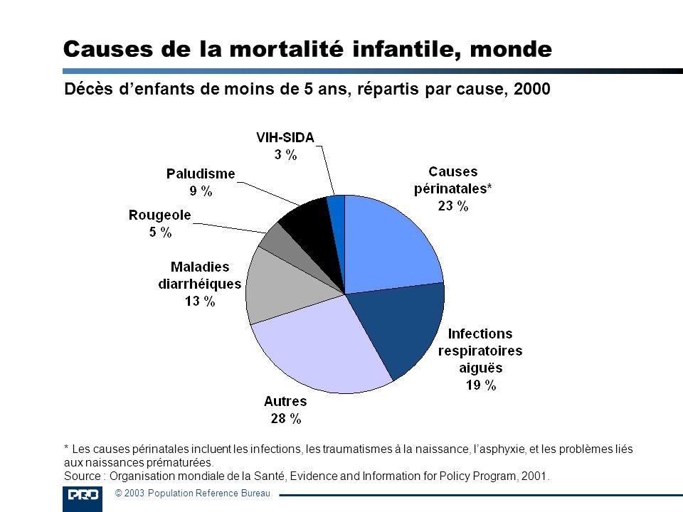© 2003 Population Reference Bureau Décès denfants de moins de 5 ans, répartis par cause, 2000 * Les causes périnatales incluent les infections, les tr