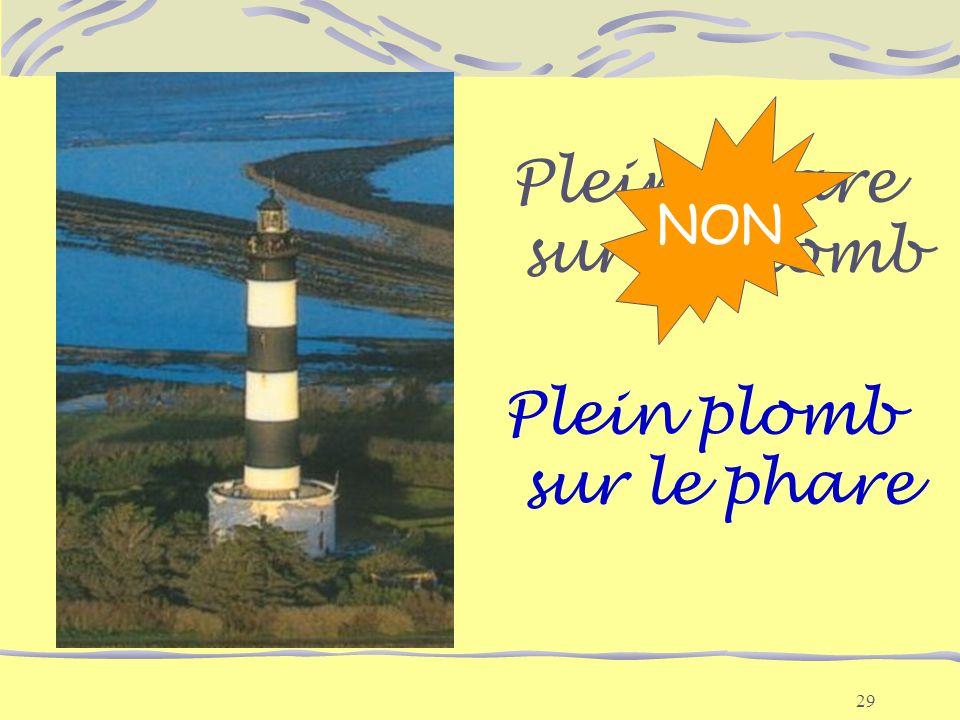 29 Plein phare sur le plomb Plein plomb sur le phare NON