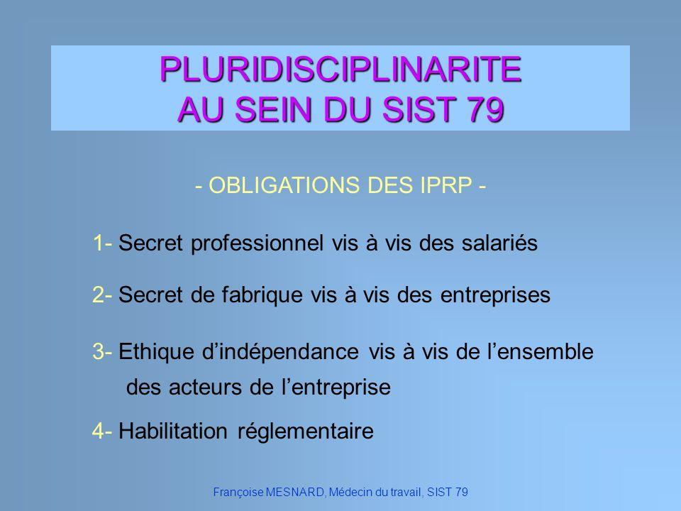 PLURIDISCIPLINARITE AU SEIN DU SIST 79 Françoise MESNARD, Médecin du travail, SIST 79 - OBLIGATIONS DES IPRP - 2- Secret de fabrique vis à vis des ent