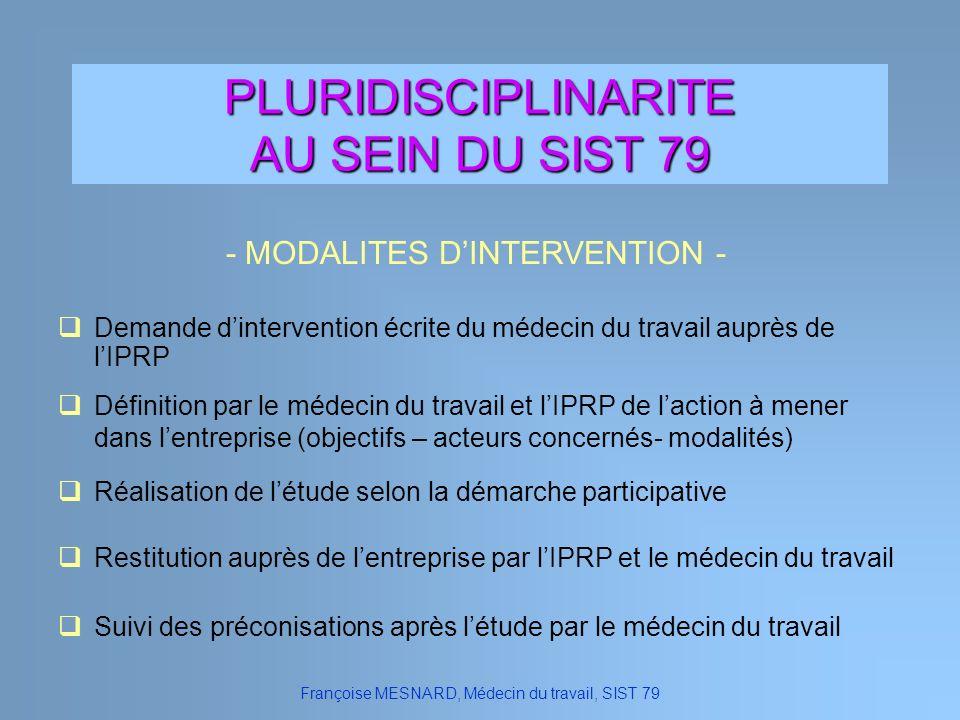 PLURIDISCIPLINARITE AU SEIN DU SIST 79 Françoise MESNARD, Médecin du travail, SIST 79 - MODALITES DINTERVENTION - Définition par le médecin du travail