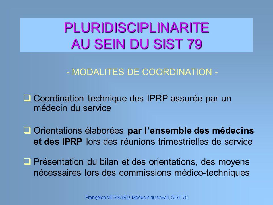 PLURIDISCIPLINARITE AU SEIN DU SIST 79 Orientations élaborées par lensemble des médecins et des IPRP lors des réunions trimestrielles de service Franç