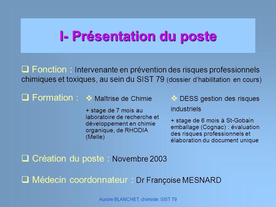 I- Présentation du poste Fonction : Intervenante en prévention des risques professionnels chimiques et toxiques, au sein du SIST 79 (dossier dhabilita