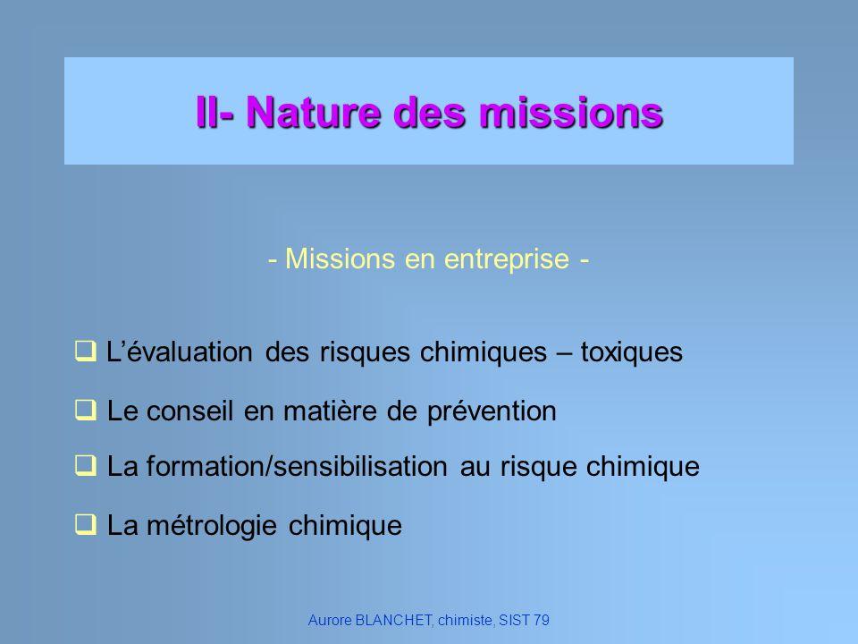 II- Nature des missions Lévaluation des risques chimiques – toxiques - Missions en entreprise - Aurore BLANCHET, chimiste, SIST 79 Le conseil en matiè