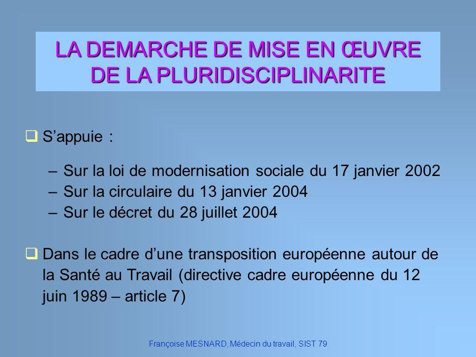 LA DEMARCHE DE MISE EN ŒUVRE DE LA PLURIDISCIPLINARITE Sappuie : –Sur la loi de modernisation sociale du 17 janvier 2002 –Sur la circulaire du 13 janv