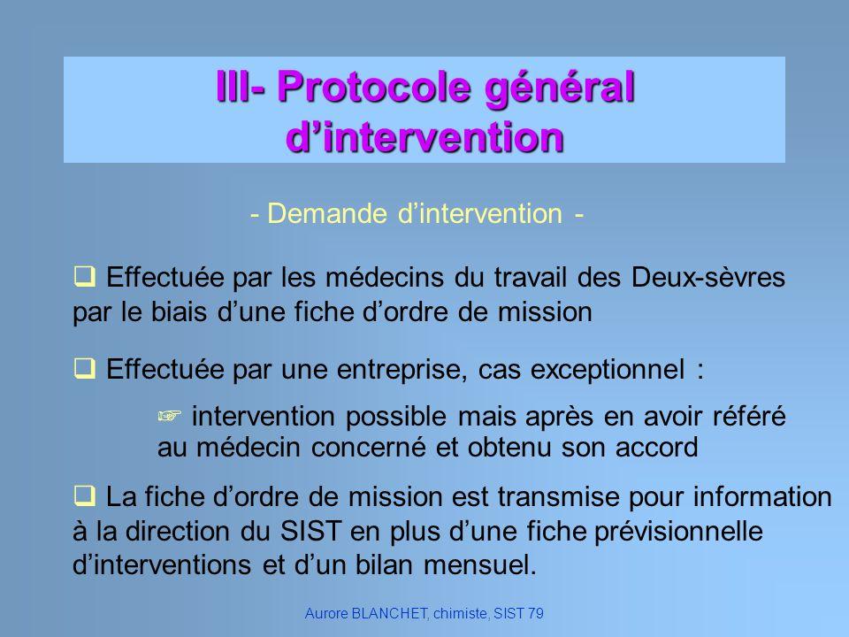 III- Protocole général dintervention Effectuée par les médecins du travail des Deux-sèvres par le biais dune fiche dordre de mission La fiche dordre d