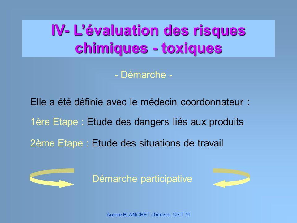 IV- Lévaluation des risques chimiques - toxiques Elle a été définie avec le médecin coordonnateur : 1ère Etape : Etude des dangers liés aux produits 2
