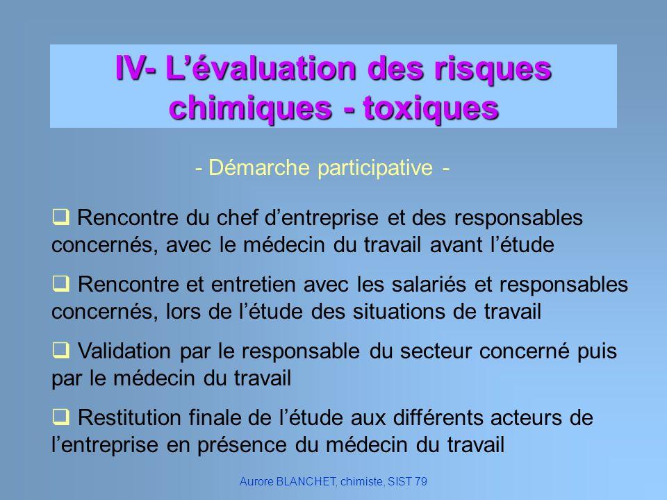 IV- Lévaluation des risques chimiques - toxiques Aurore BLANCHET, chimiste, SIST 79 - Démarche participative - Rencontre du chef dentreprise et des re