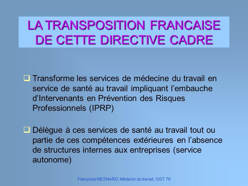 Françoise MESNARD, Médecin du travail, SIST 79 LA TRANSPOSITION FRANCAISE DE CETTE DIRECTIVE CADRE Transforme les services de médecine du travail en s