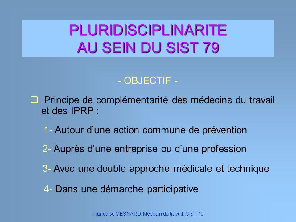 PLURIDISCIPLINARITE AU SEIN DU SIST 79 - OBJECTIF - Françoise MESNARD, Médecin du travail, SIST 79 2- Auprès dune entreprise ou dune profession 1- Aut