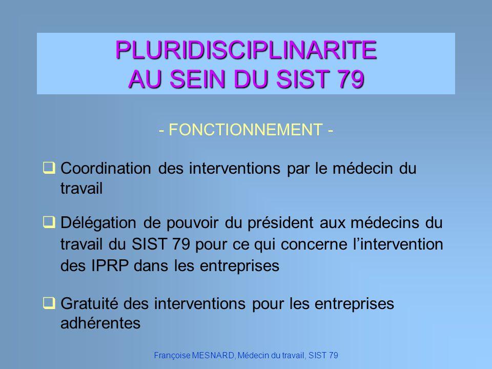 PLURIDISCIPLINARITE AU SEIN DU SIST 79 - FONCTIONNEMENT - Françoise MESNARD, Médecin du travail, SIST 79 Délégation de pouvoir du président aux médeci