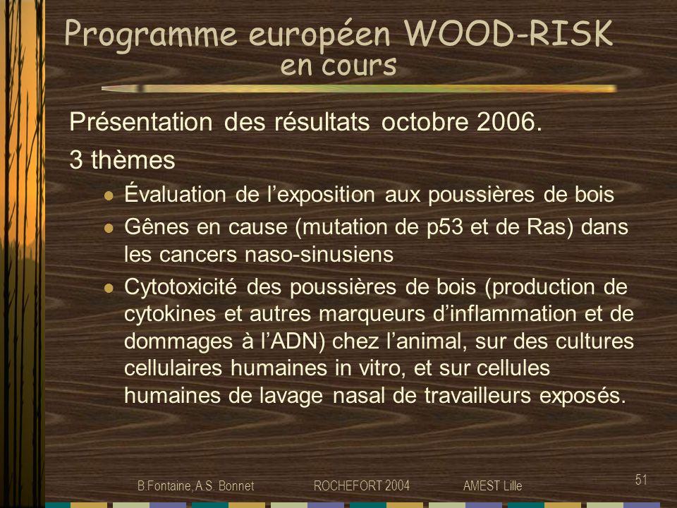 B.Fontaine, A.S. Bonnet ROCHEFORT 2004 AMEST Lille 51 Programme européen WOOD-RISK en cours Présentation des résultats octobre 2006. 3 thèmes Évaluati