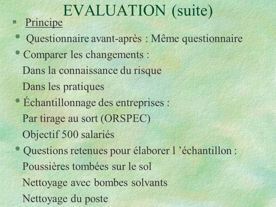 EVALUATION (suite) § Principe Questionnaire avant-après : Même questionnaire Comparer les changements : Dans la connaissance du risque Dans les pratiq