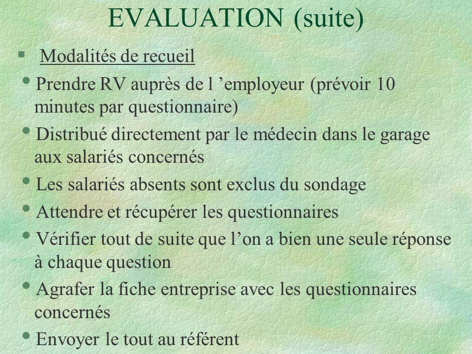 EVALUATION (suite) § Modalités de recueil Prendre RV auprès de l employeur (prévoir 10 minutes par questionnaire) Distribué directement par le médecin